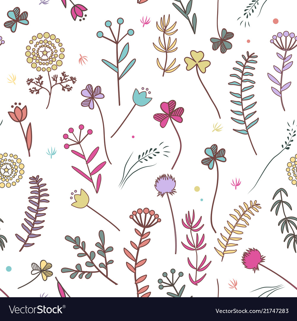 Autumn flowers seamless pattern floral background