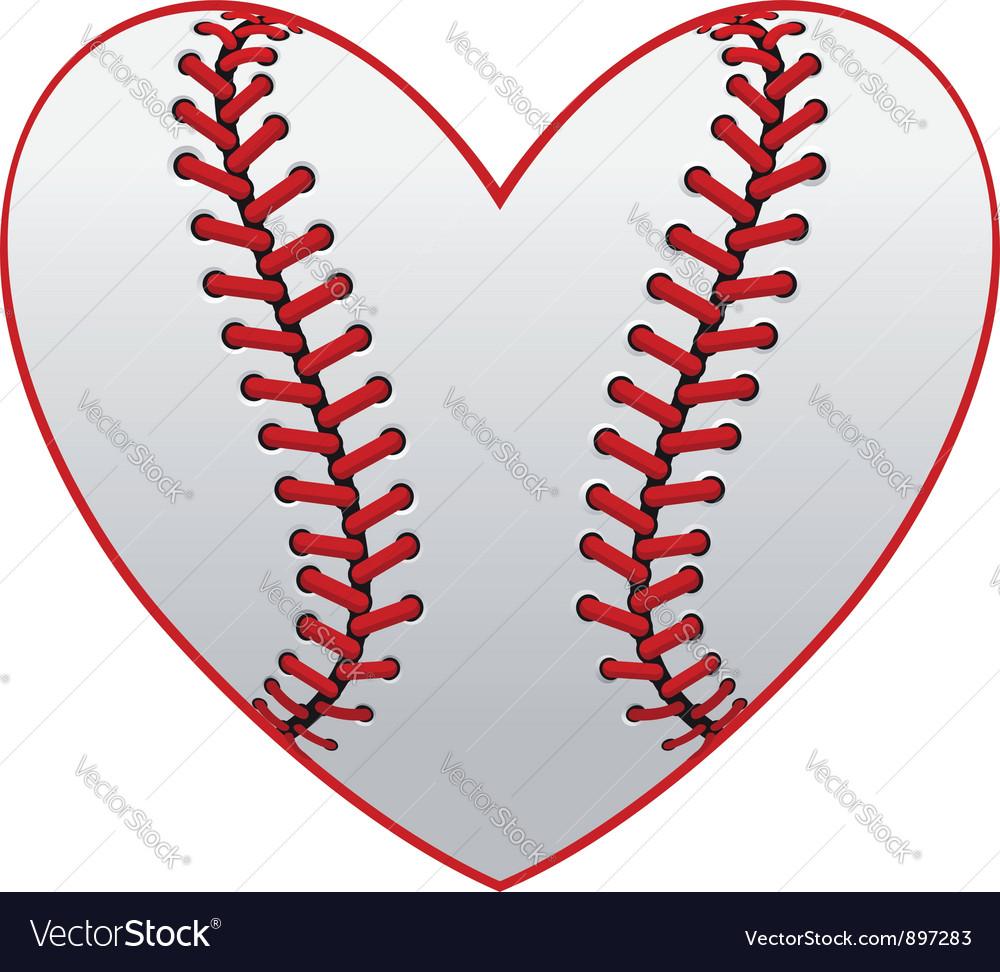 Baseball leather ball as a heart