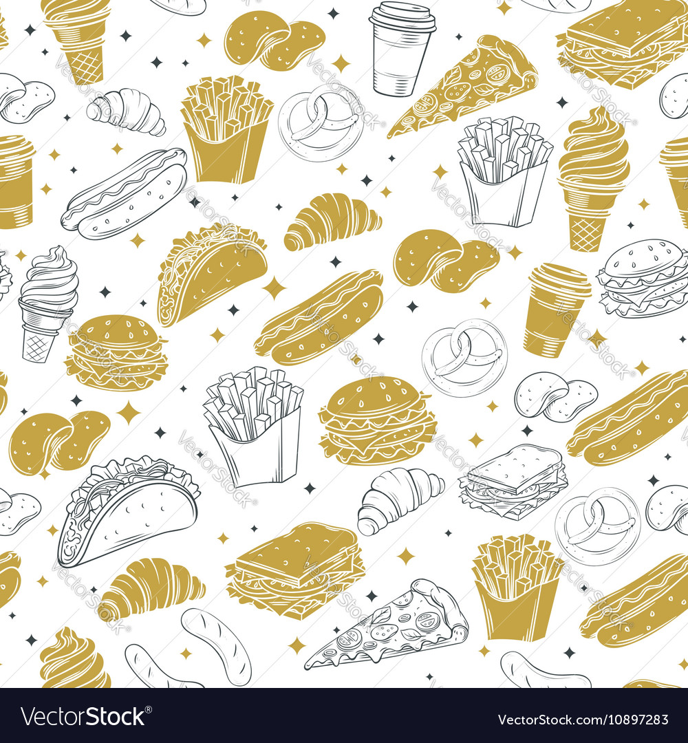 Fast Food decorative seamless pattern