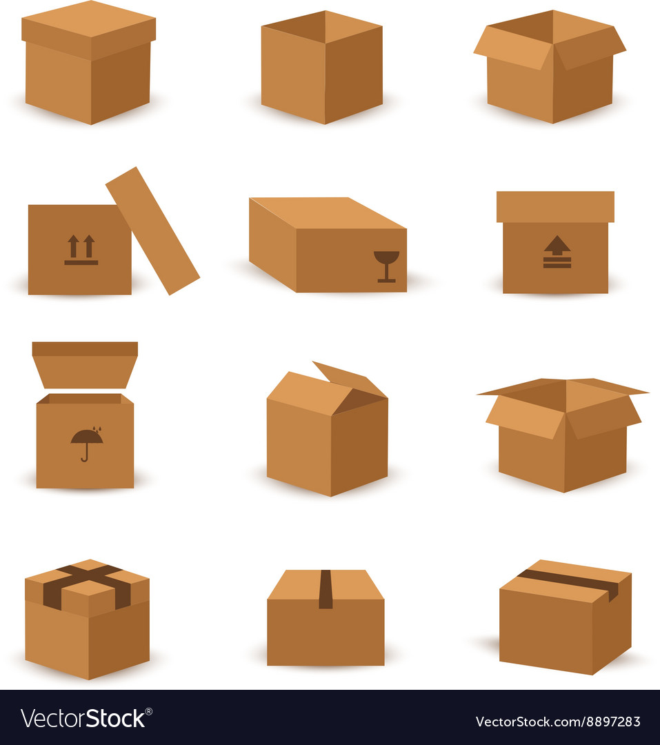 Flat box and packing icon