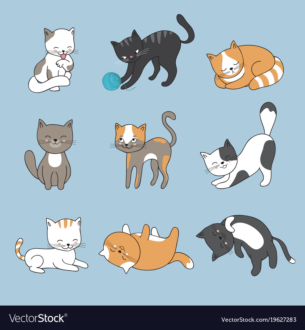 hand drawing cute cats kitty collection vector