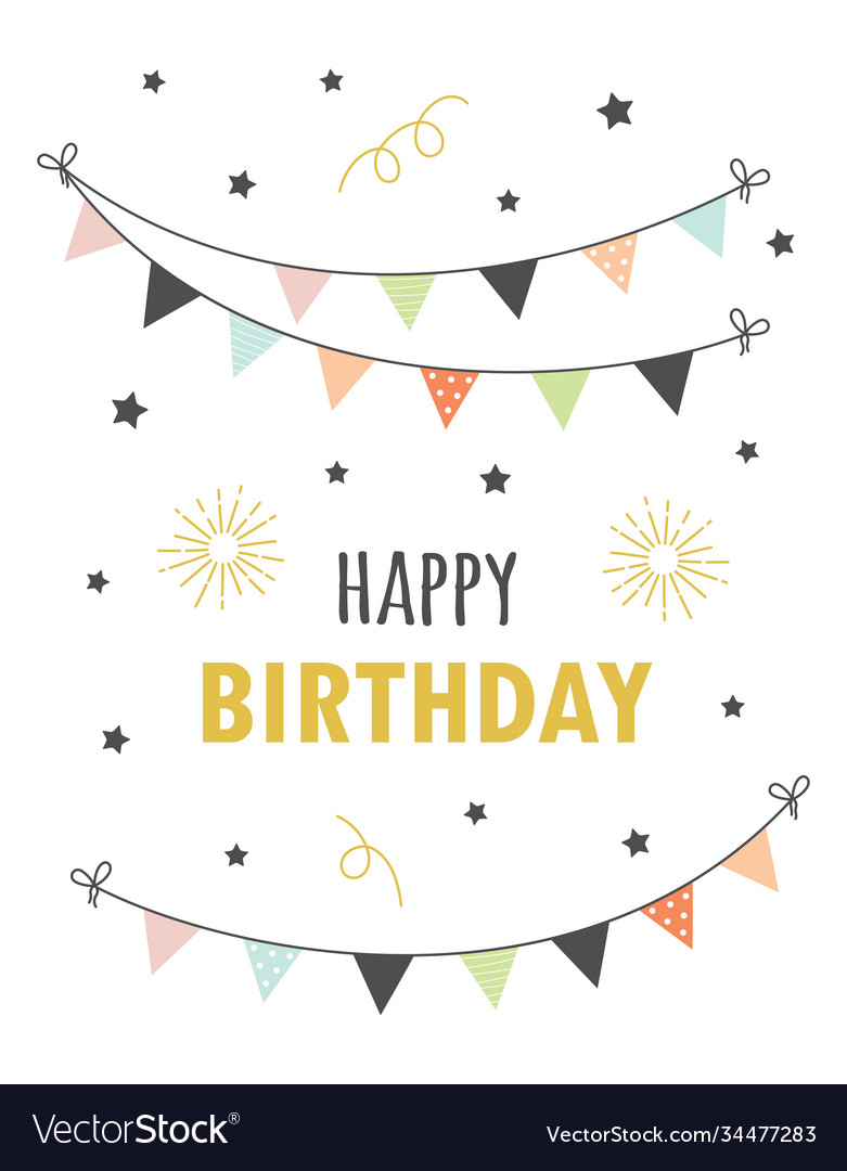 Happy birthday card with flags vector
