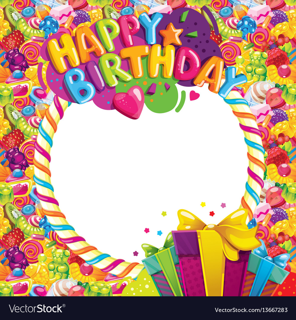 Happy birthday color frame Royalty Free Vector Image