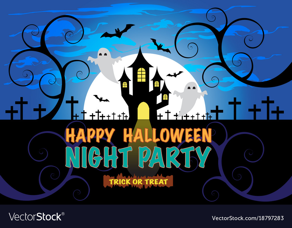 Happy Halloween Night Party Background For Holiday Vector Image