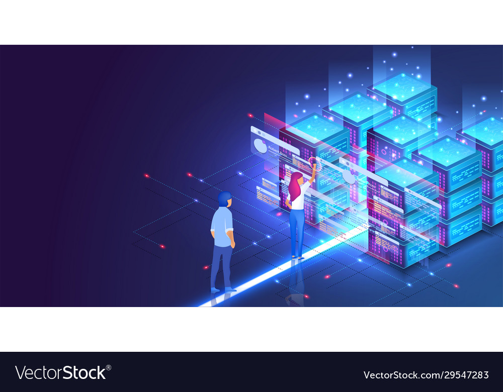 Isometric concept a young woman and man creates a