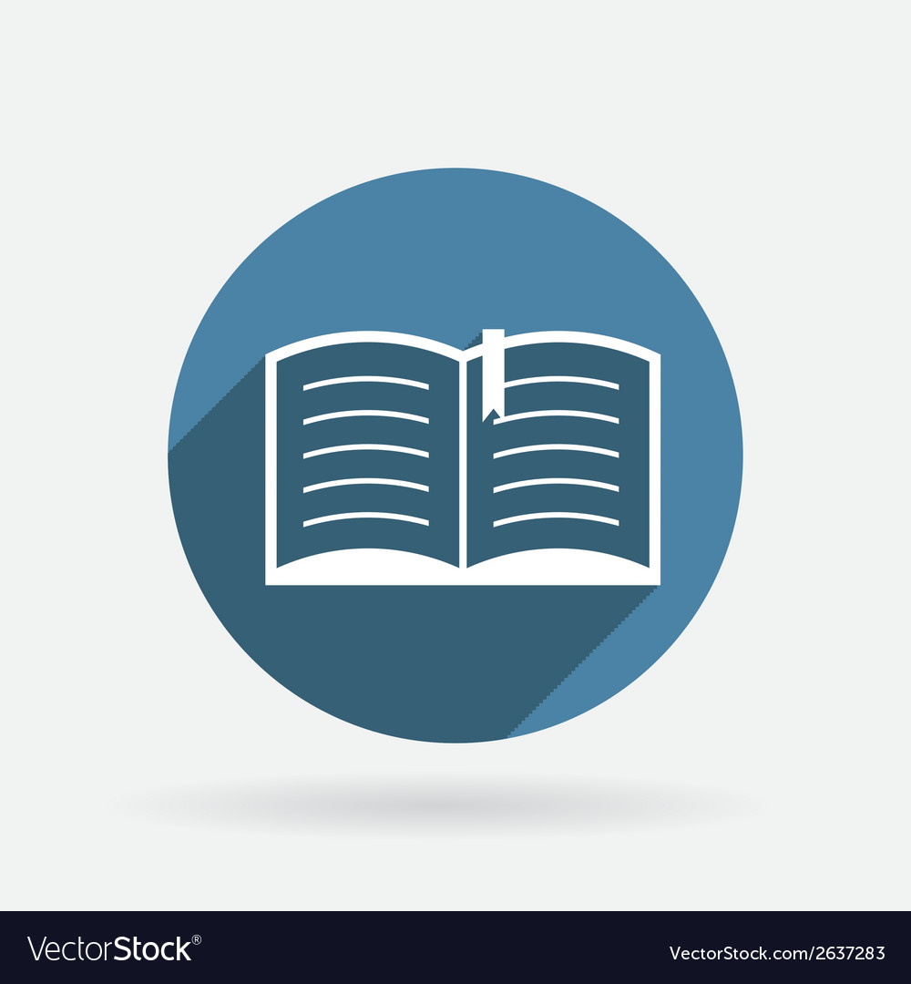 Open book Circle blue icon with shadow