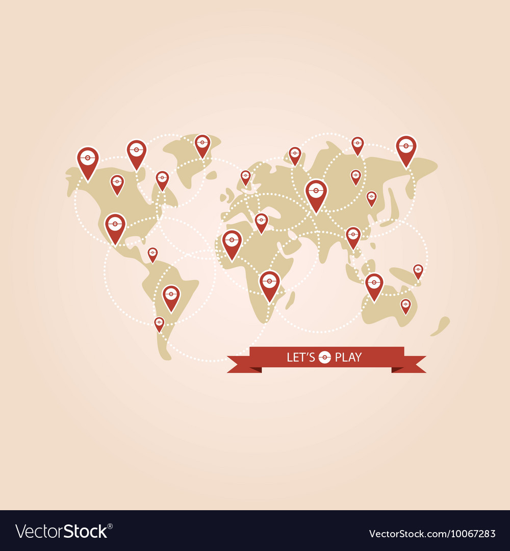 Pointers popular game on the world map royalty free vector pointers popular game on the world map vector image gumiabroncs Images