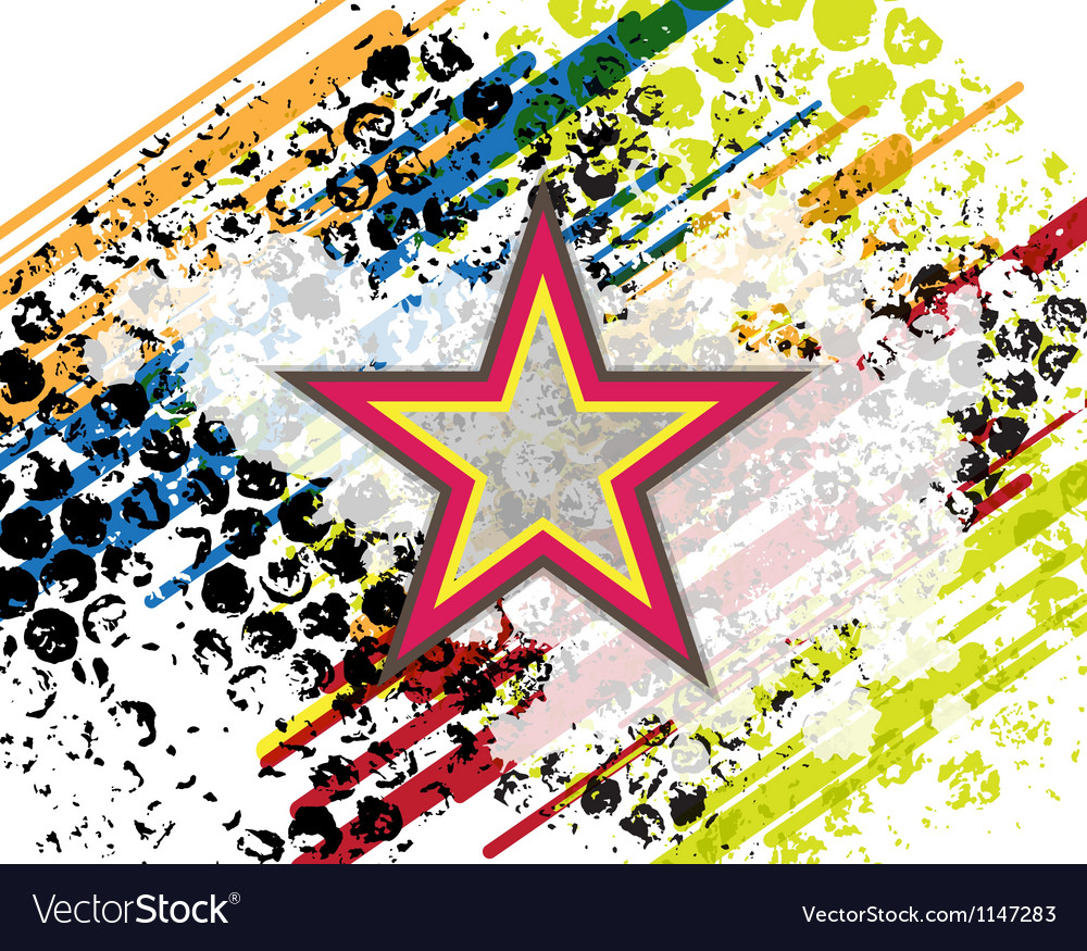 Retro star on grunge background vector image