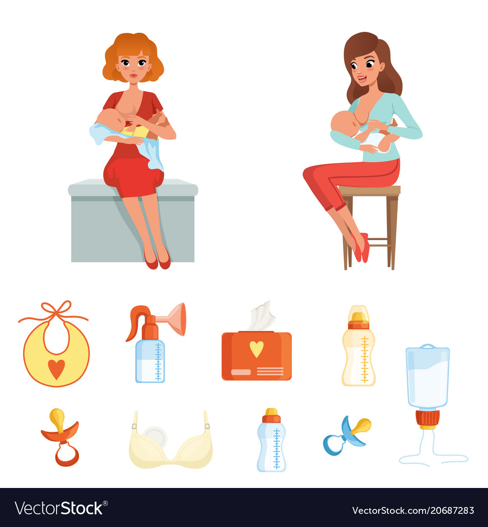Set of colorful items related to breastfeeding