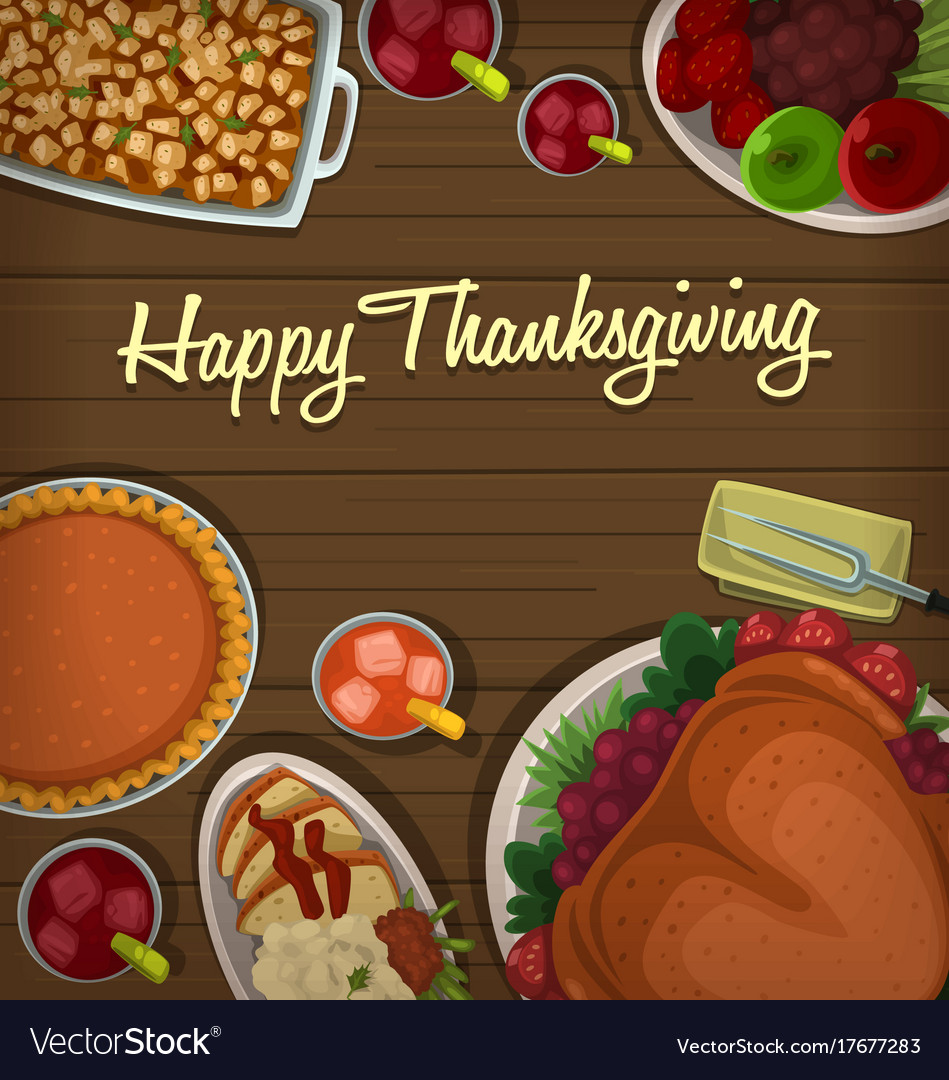 Top down thanksgiving dish banner template