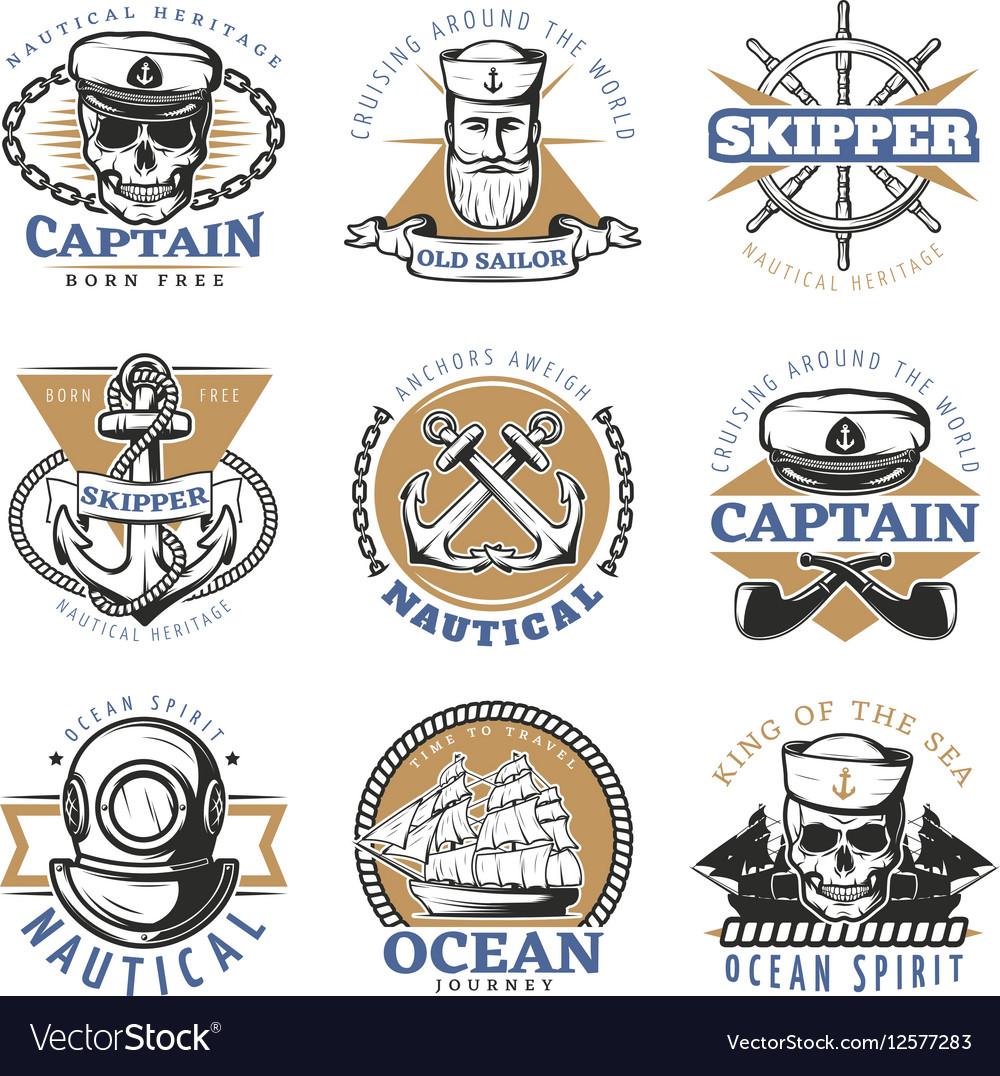 Vintage Sailor Logo Set