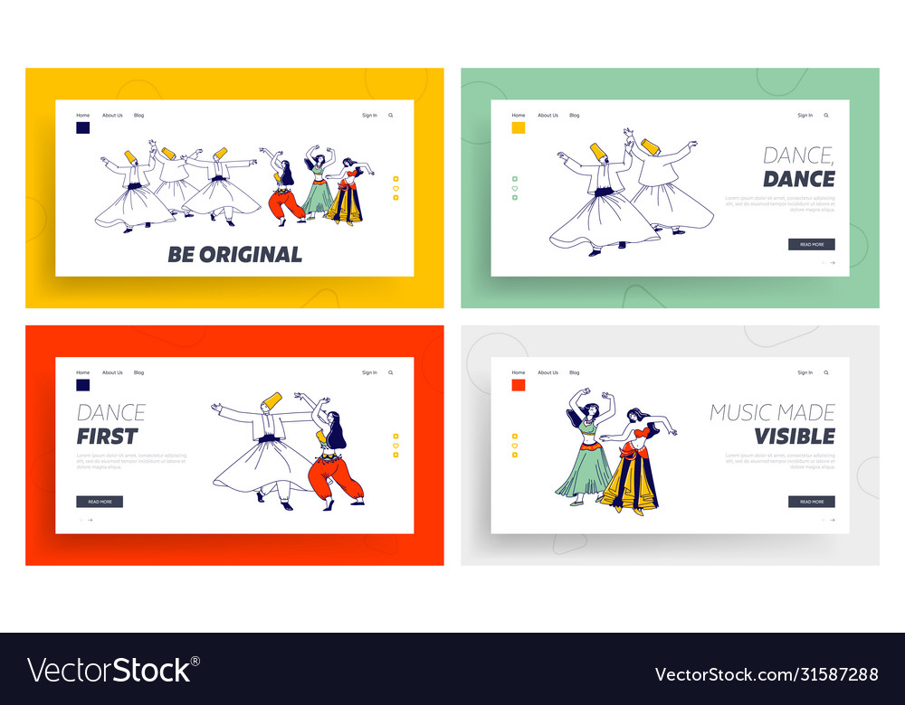 Arabic dances landing page template set whirling