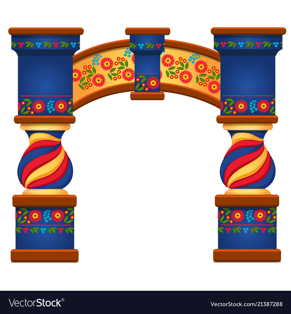 Arch with ornament in slavic style isolated on