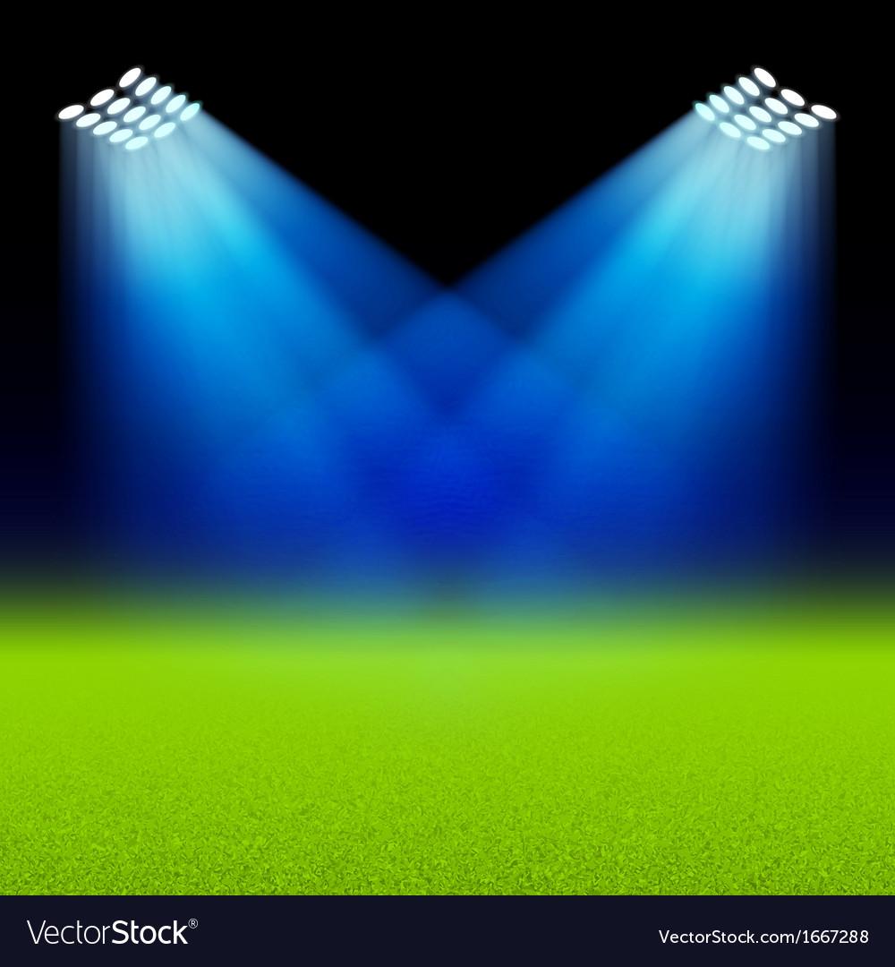 Bright spotlights illuminated green field stadium vector image