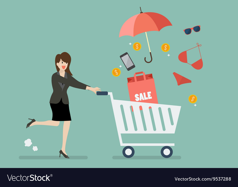 Business woman add clothing and accessories into vector image