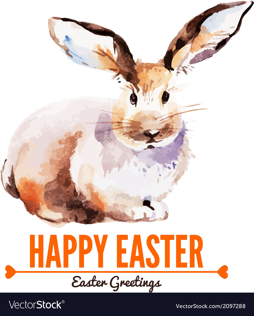 Card with sketch Easter rabbit
