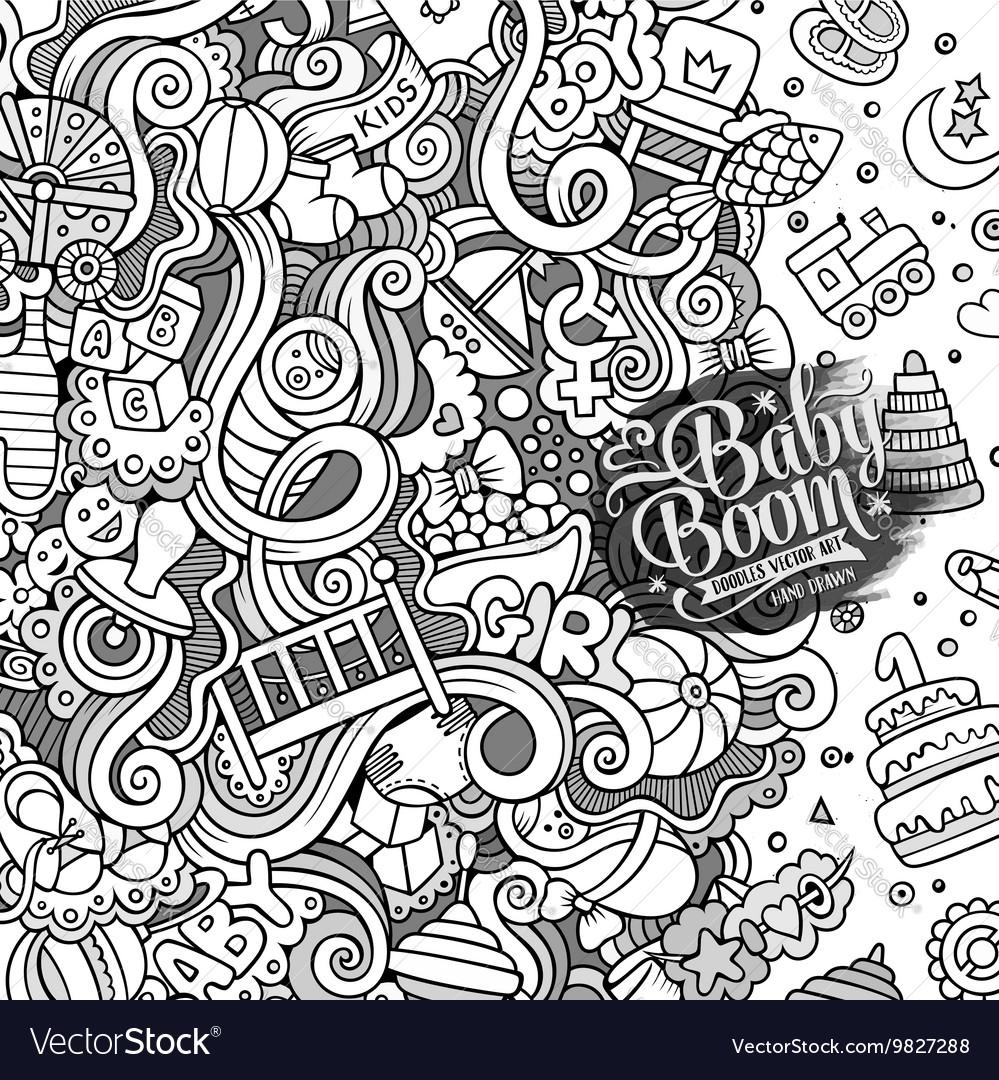 Cartoon doodles baby boom frame