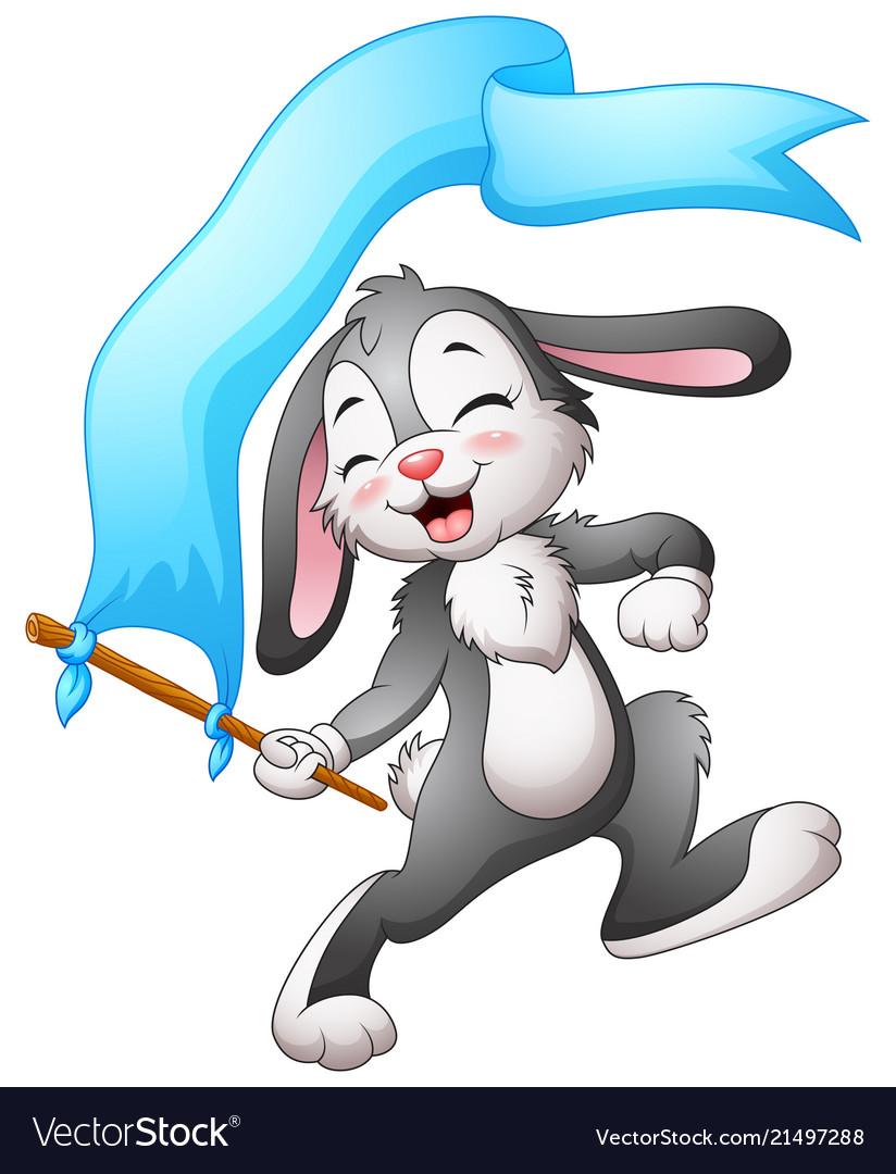 Cartoon rabbit waving flags blue ribbon
