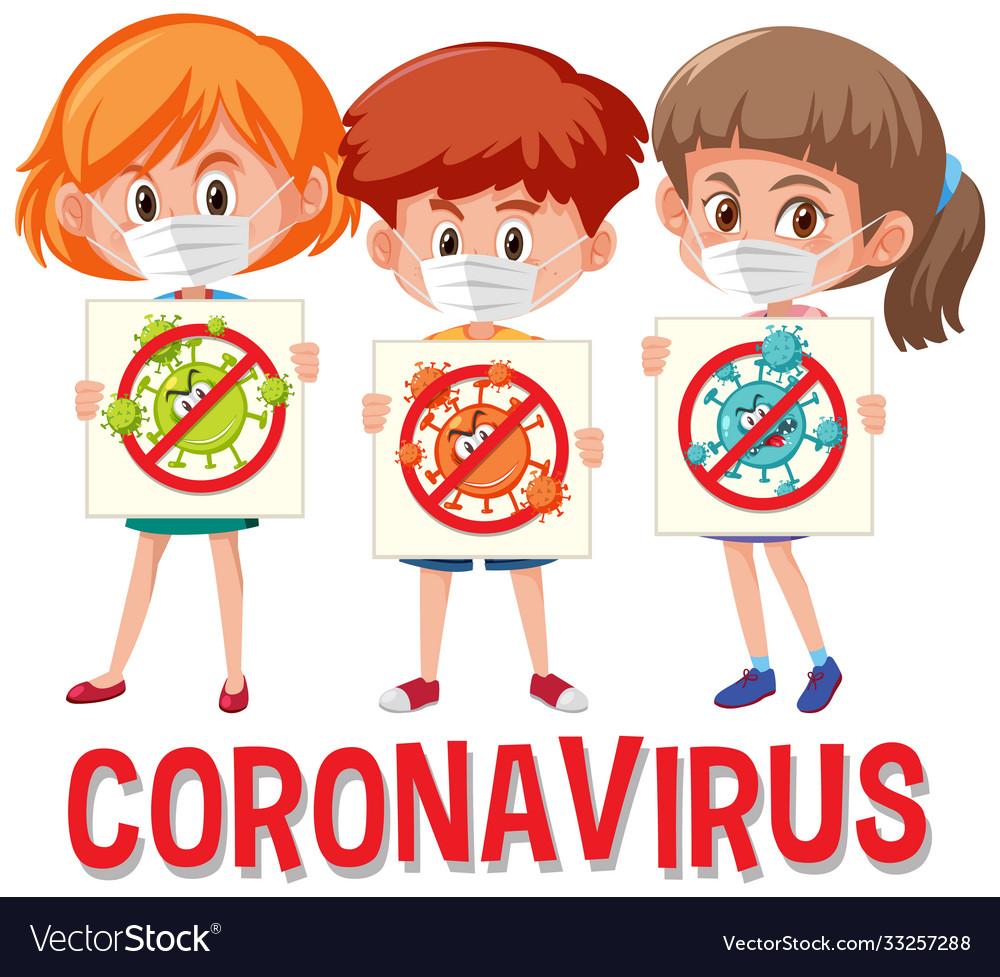Coronavirus logo with three teenagers holding