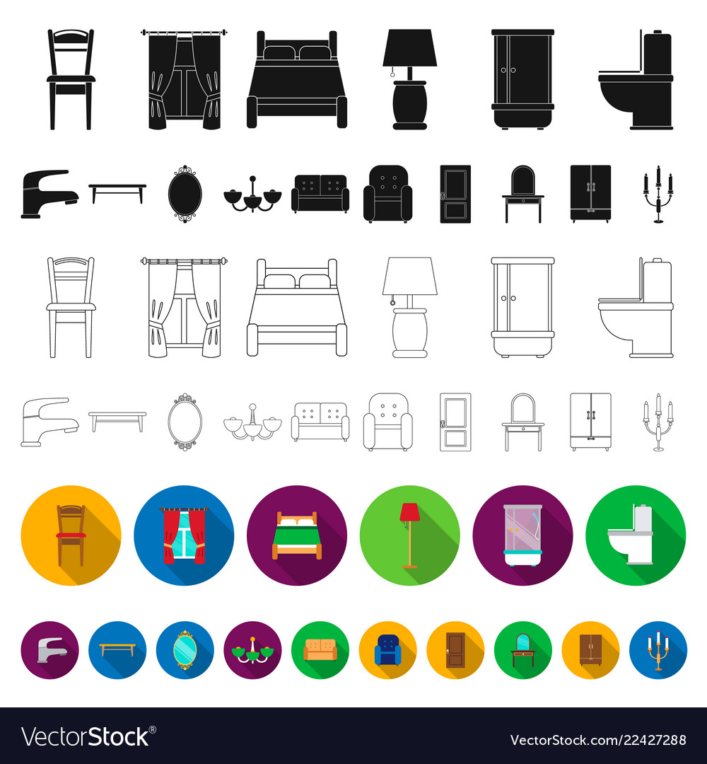 Furniture and interior flat icons in set