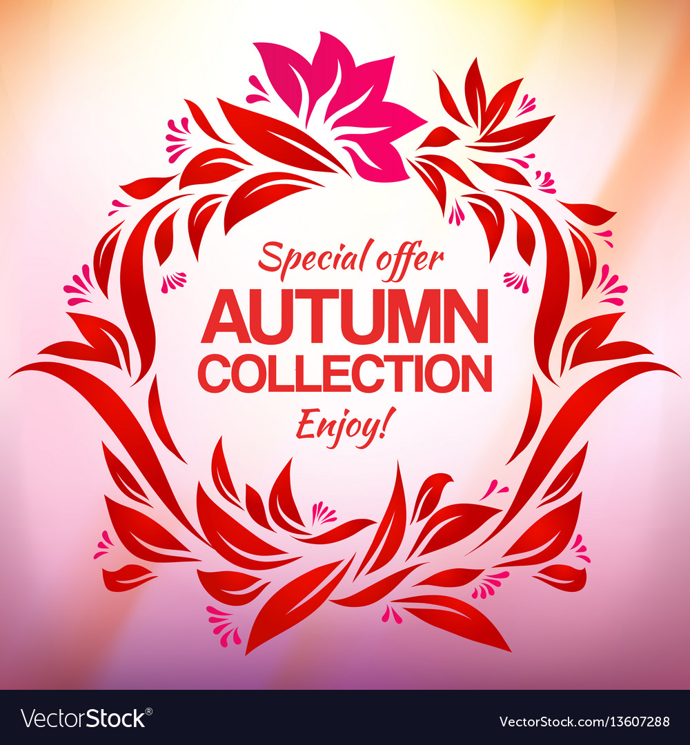 Hand drawing autumn floral label for new vector image