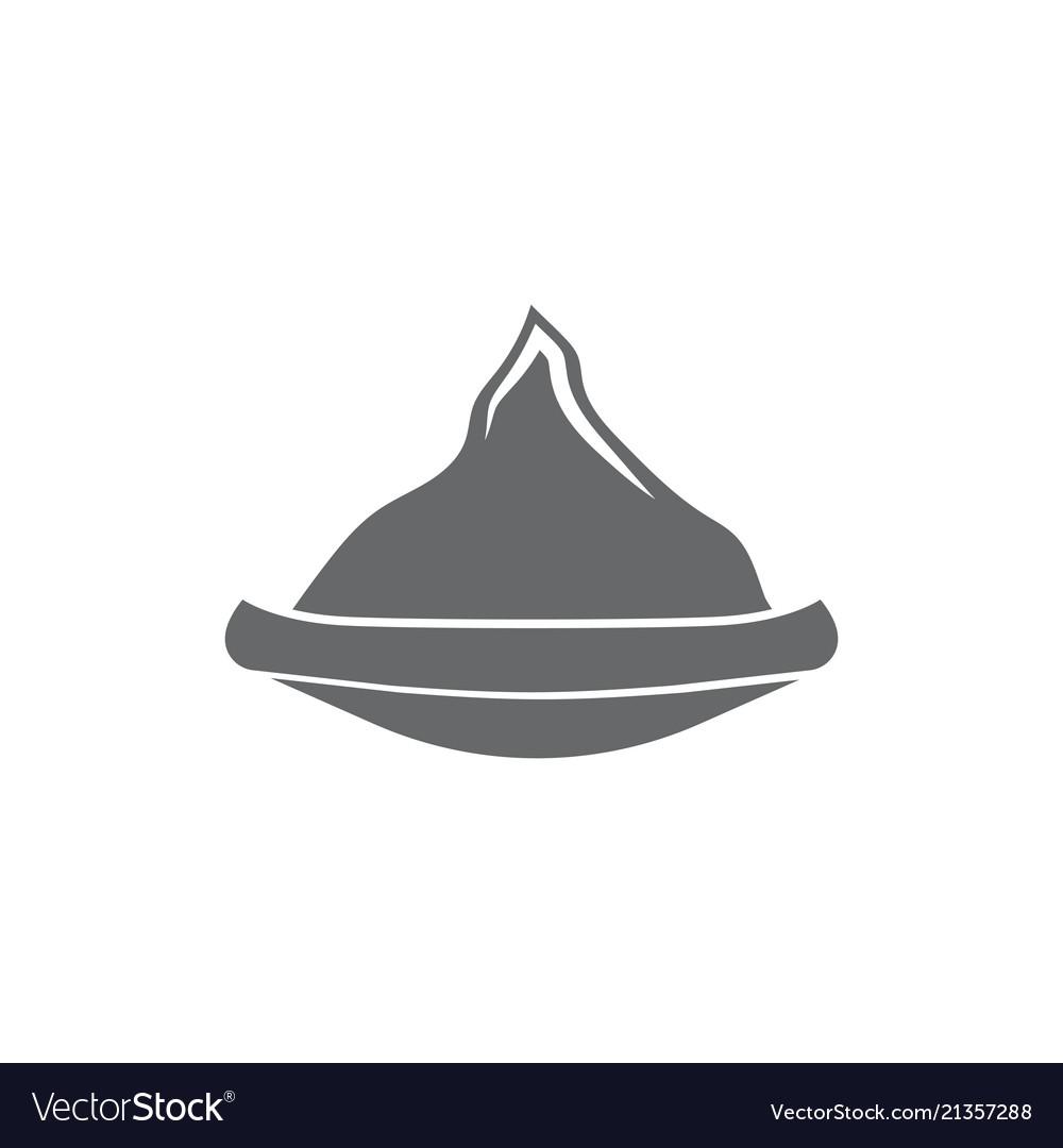 Monochrome emblem silhouette of canoe against
