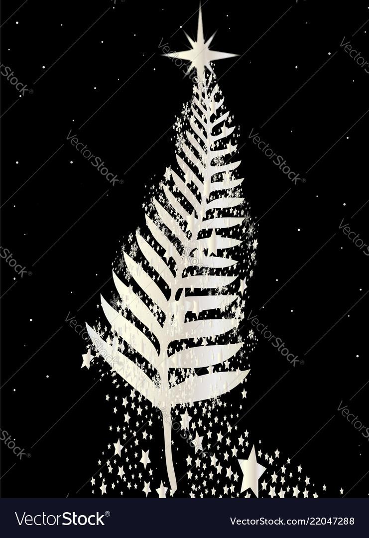New Zealand Silver Fern Christmas Tree Royalty Free Vector
