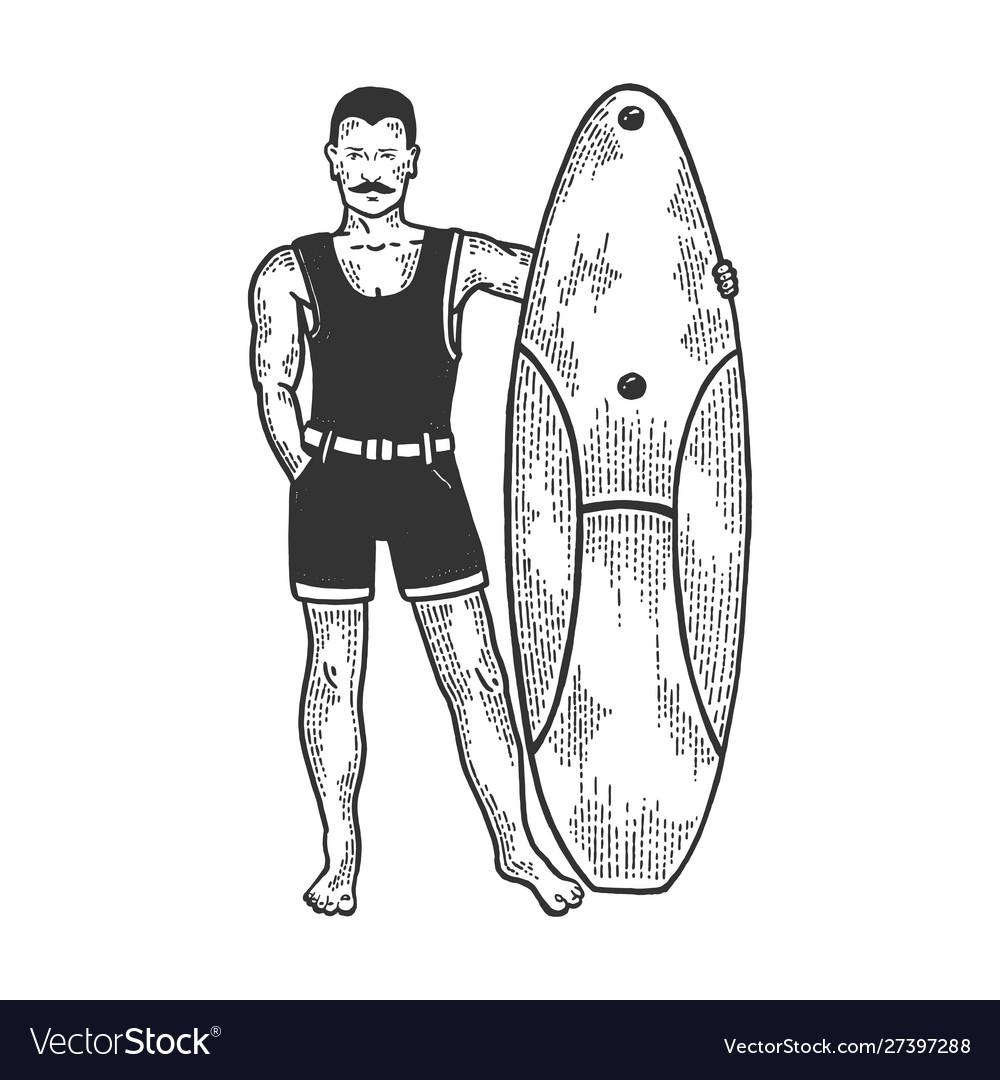 Old fashioned surfer sketch engraving
