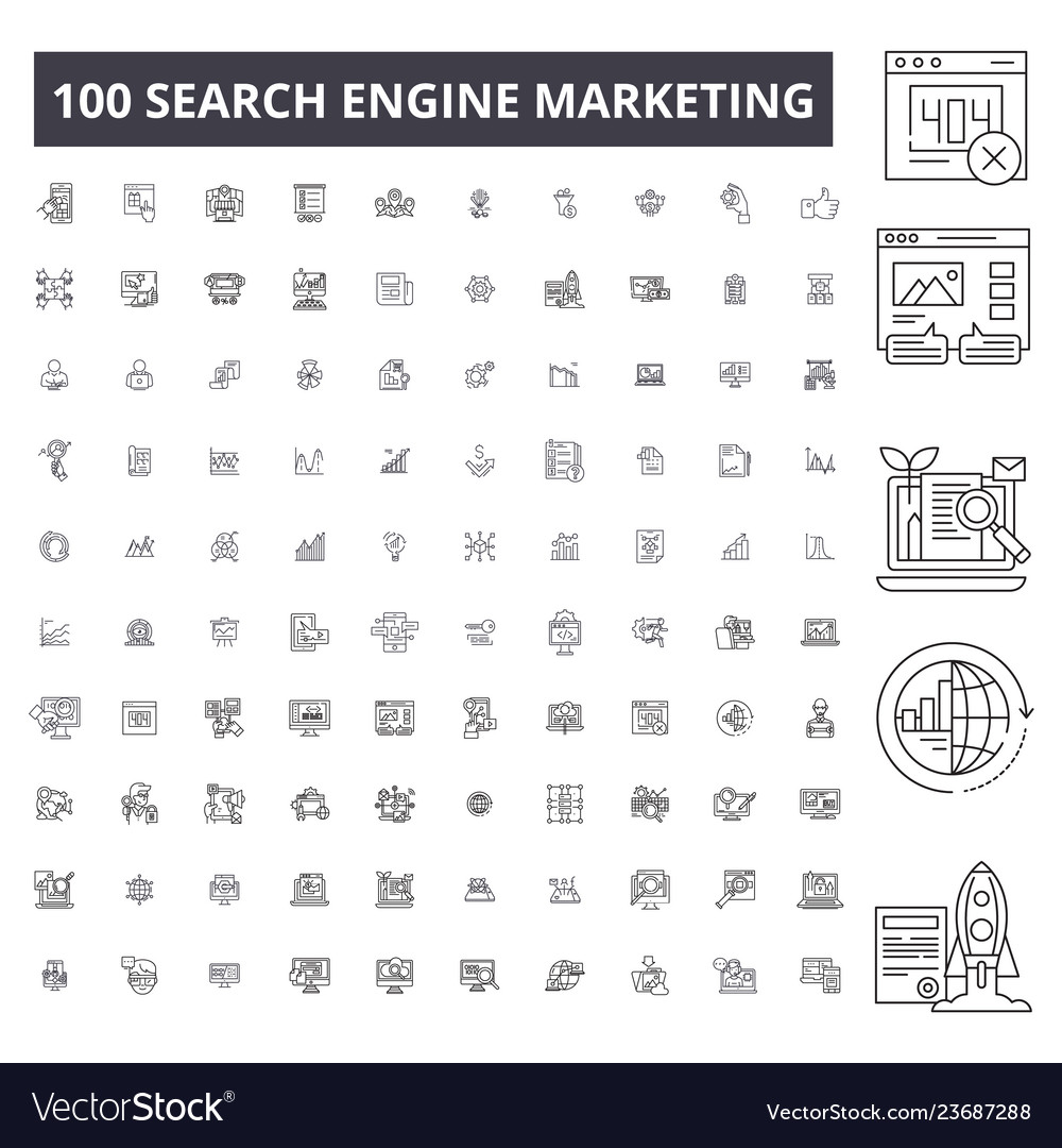 Search engine marketing editable line icons 100