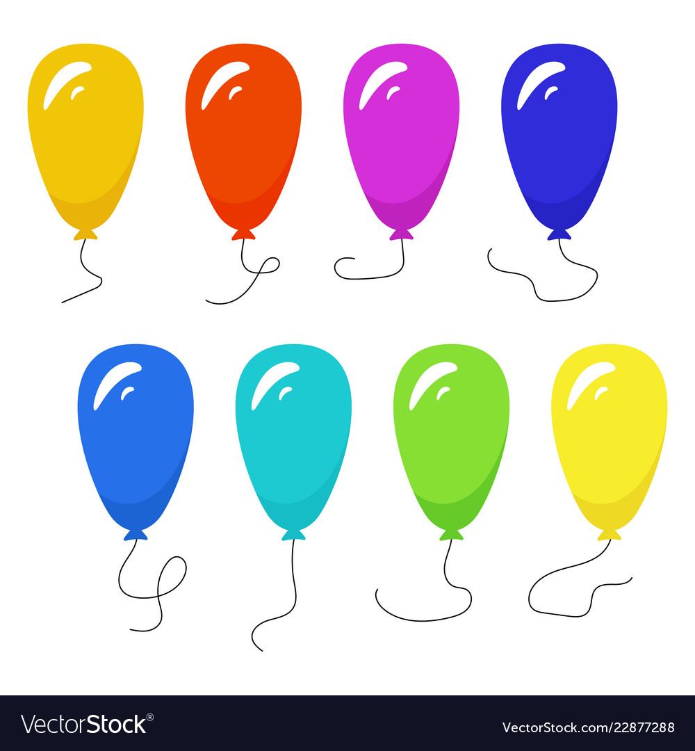 Set of eight colorful balloons with a string