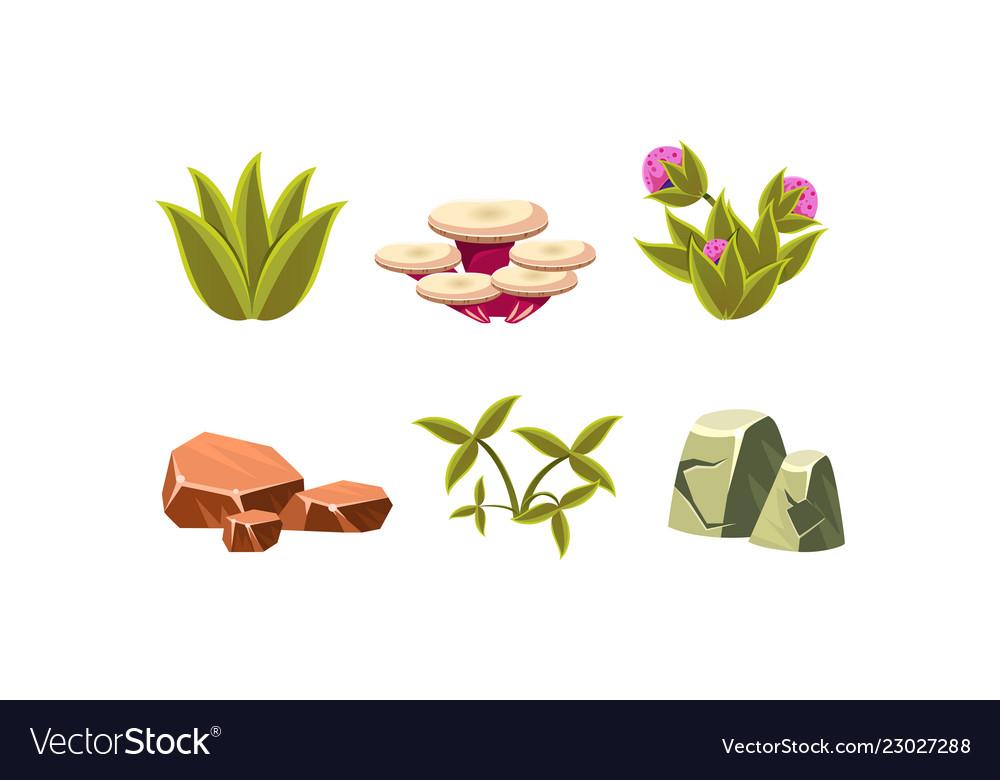 Set of natural landscape elements green grass
