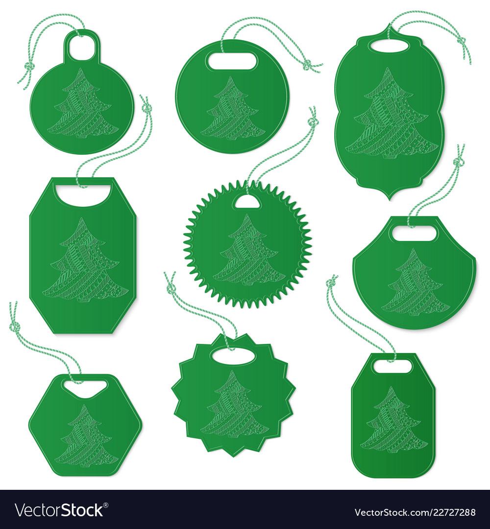 Set of tags decorated with christmas tree