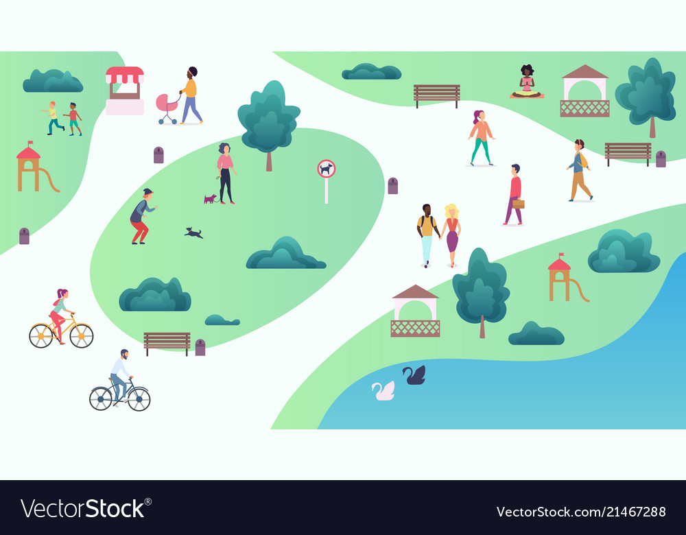 Top map view of various people at park walking and