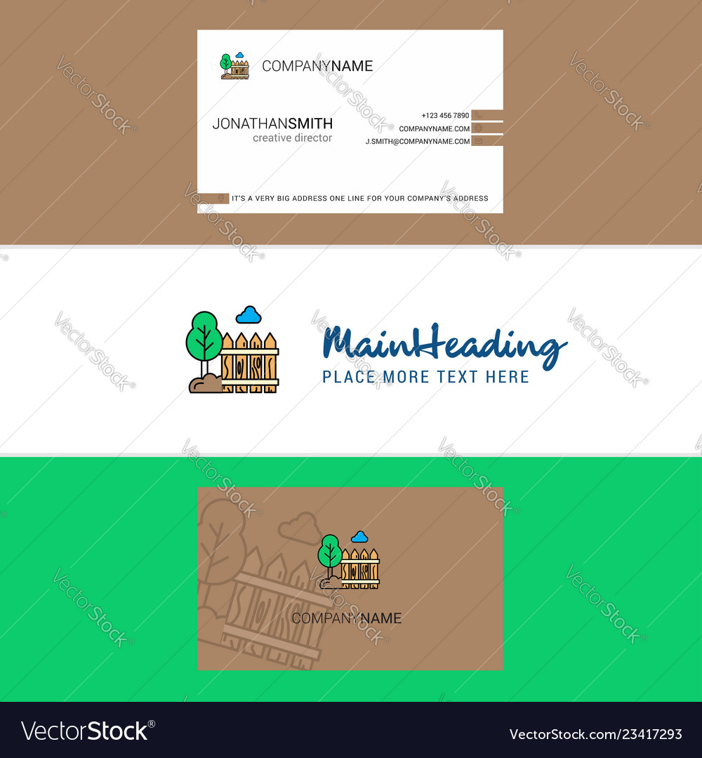 Beautiful garden logo and business card vertical