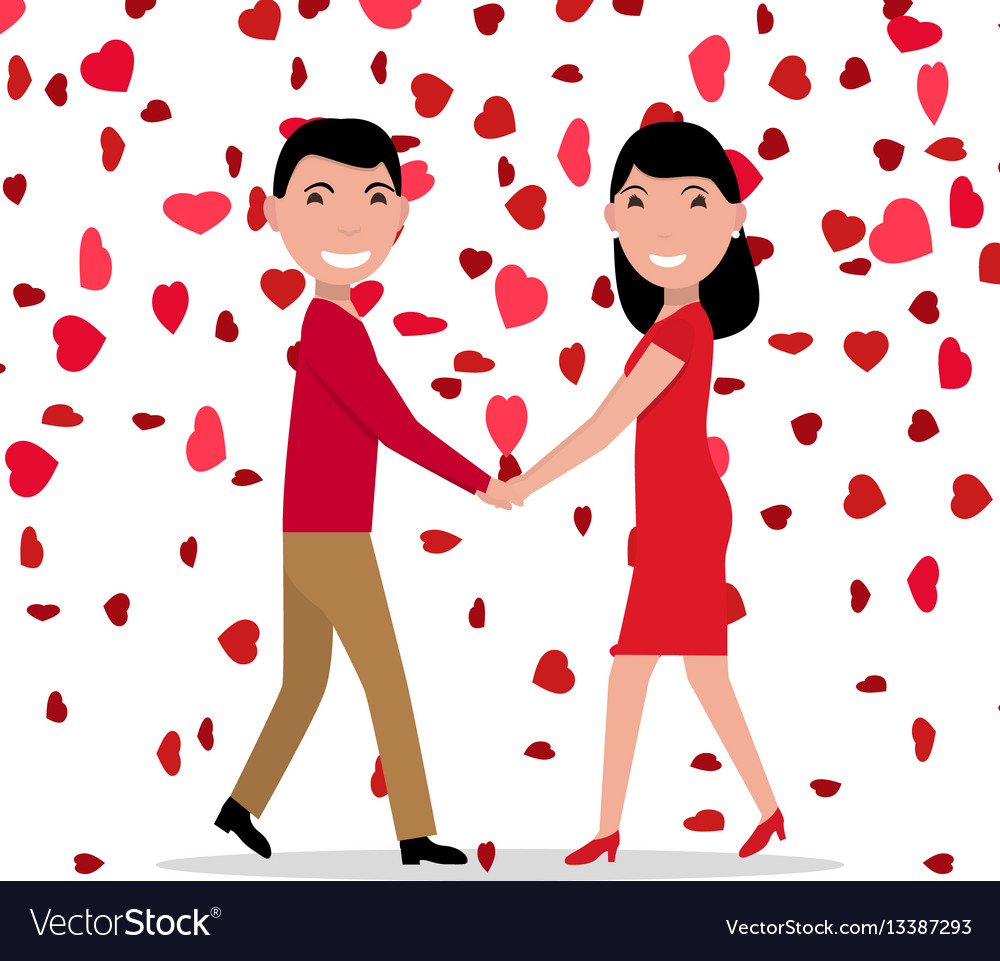 Cartoon love couple falling red hearts