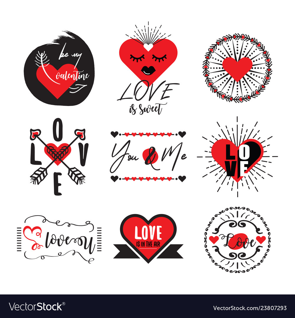 Cute black and red heart love valentine emblem set