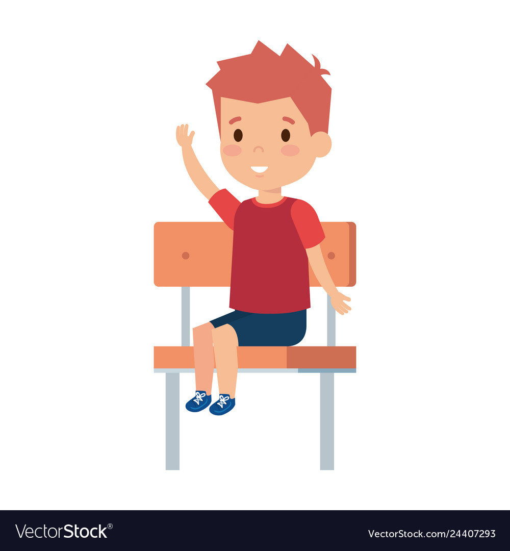 Remarkable Cute Little Boy Sitting In Schoolchair Gmtry Best Dining Table And Chair Ideas Images Gmtryco