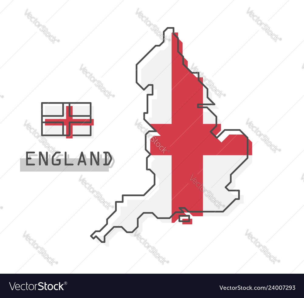 Simple Map Of England.England Map And Flag Modern Simple Line Cartoon