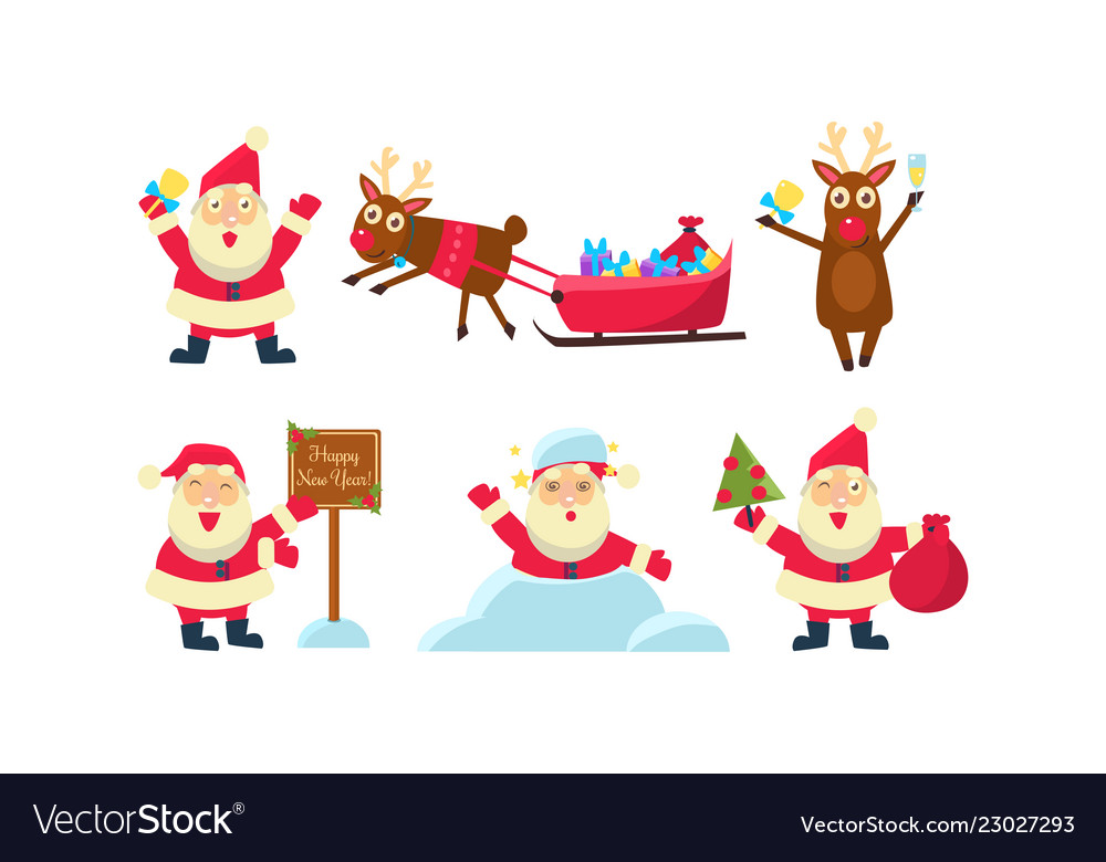 Flat set of colorful christmas icons funny