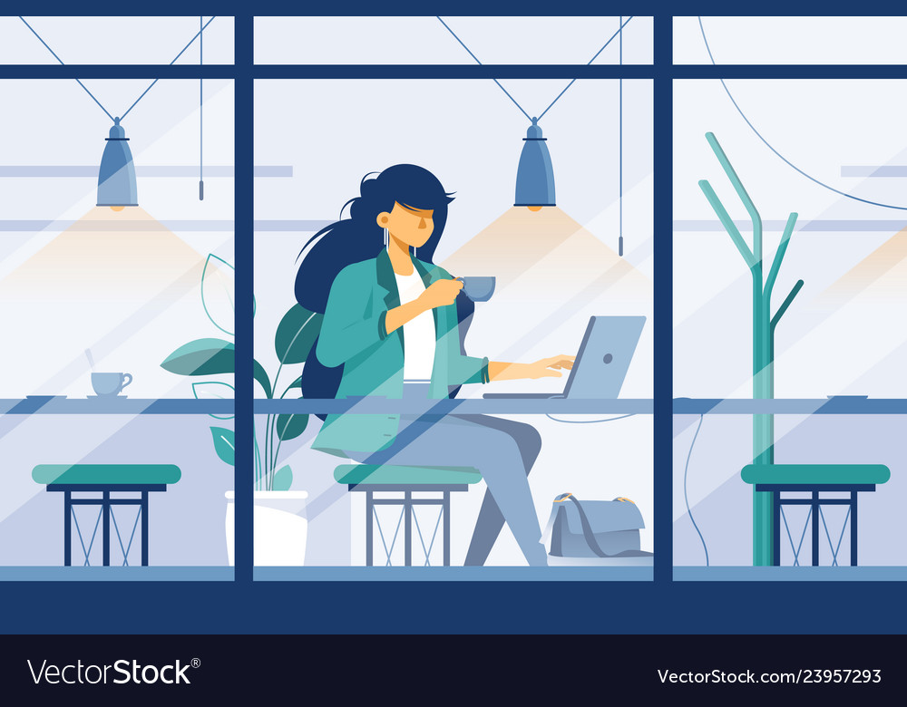 Flat young girl with laptop in cafe at business
