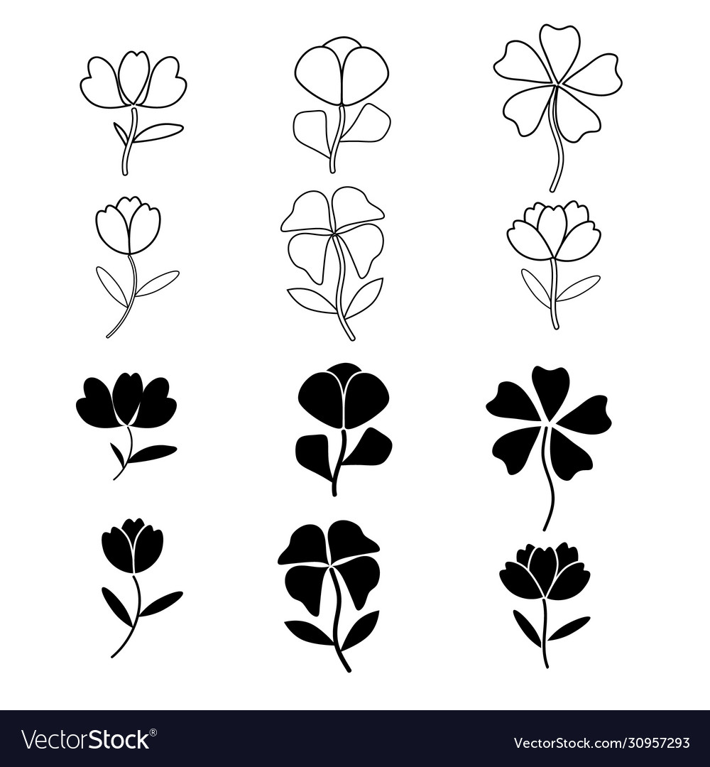 Flowers icon set on white background