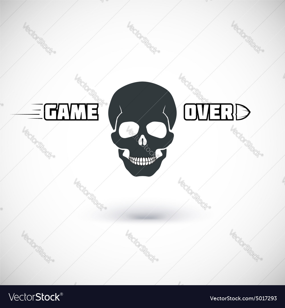 Game over symbol with skull