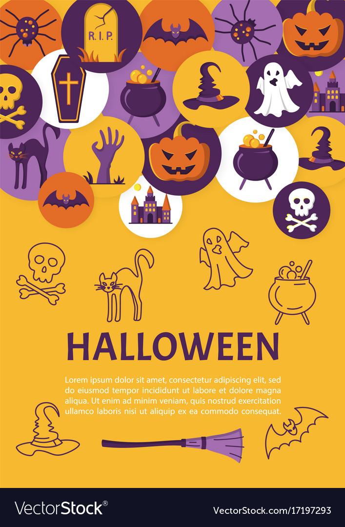 Halloween banner halloween icons in circles on