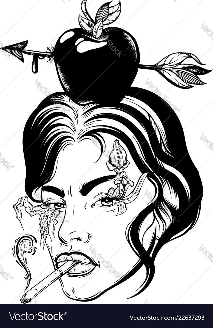 Hand drawn apple with arrow on female head