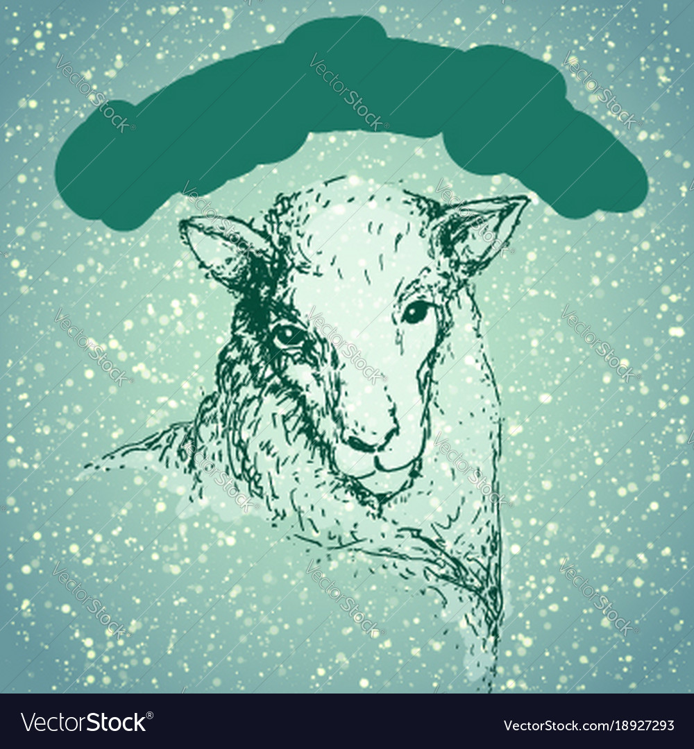 happy new year sheep with snowfall vector image