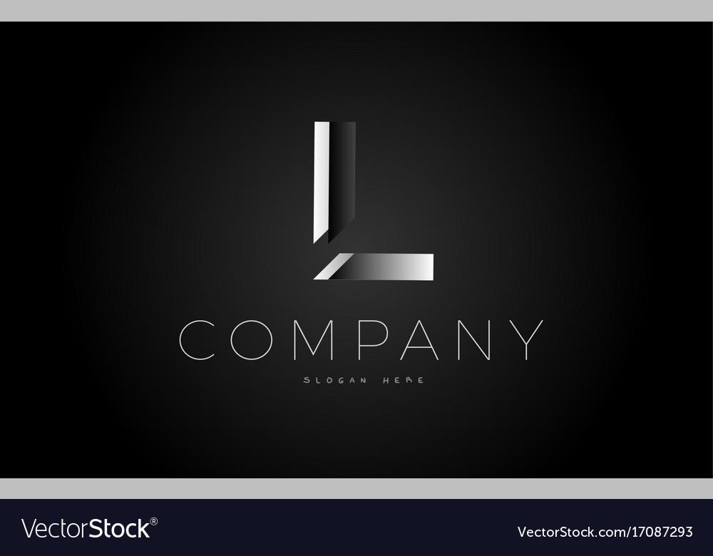 L black white silver letter logo design icon