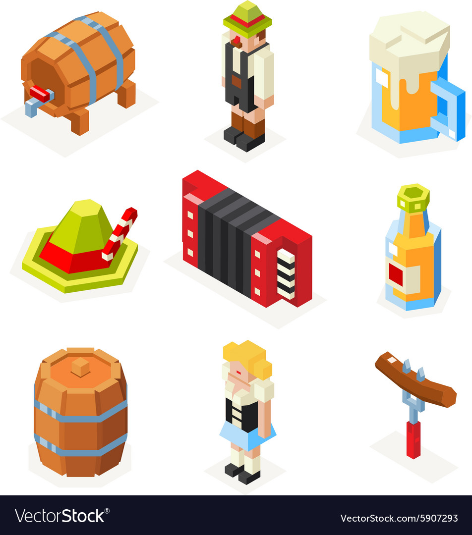 Oktoberfest isometric 3d polygon icons set beer vector image