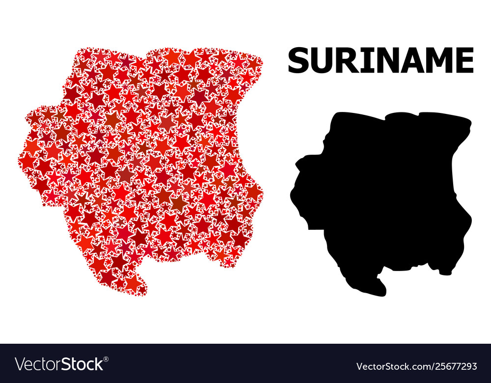 Red Starred Pattern Map Suriname