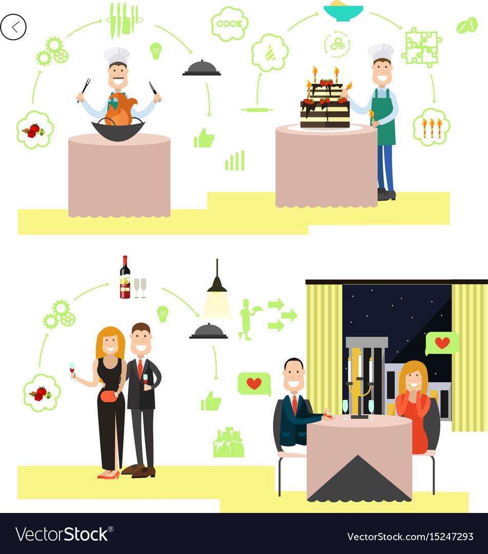 Restaurant people in flat vector image