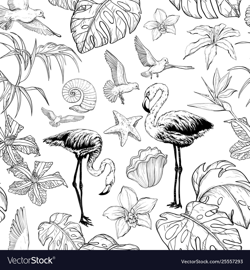 Seamless watercolor pattern with tropical flowers